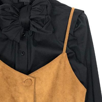 ribbon tie blouse & button up suede dress